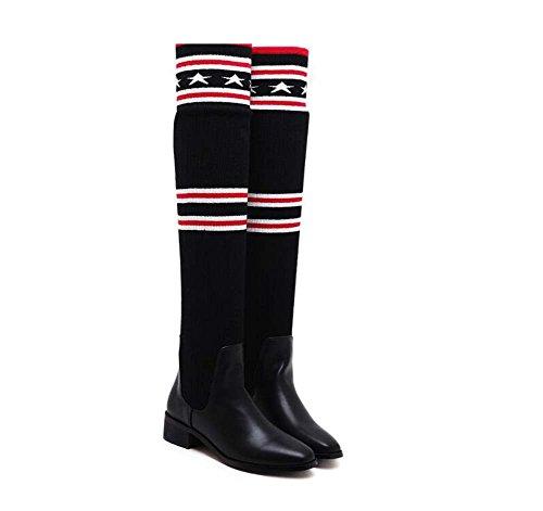 Kniehohe Stiefel 3.5cm Chunkly Ferse spitze Zehe High-Heels Kleid Schuhe Frauen Einfache Elastische Strumpf Schwarz Lässige Schuhe Court Schuhe Eu Größe 35-40 ( Color : Black , Size : 40 ) -