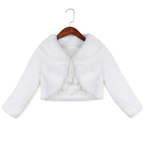 YiZYiF Baby Mädchen Pelz Bolero Strick Kinder Schulterjacke Kragen Winter Jacke Mantel für besondere Anlässe oder Weihnachten Party 86-128 Ivory 92-98