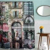 180x200cm Vintage Old Street Waterproof Shower Curtain Bath Curtain with 12 Hooks