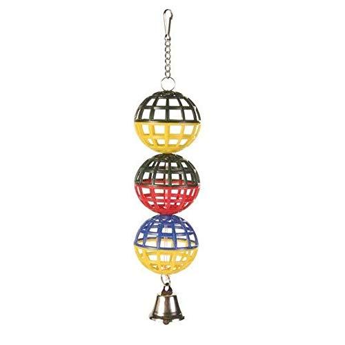 EQT-TEC Vogel Spielzeug 3er Gitterball mit Kette und Glocke 16cm für zb Vogelkäfig