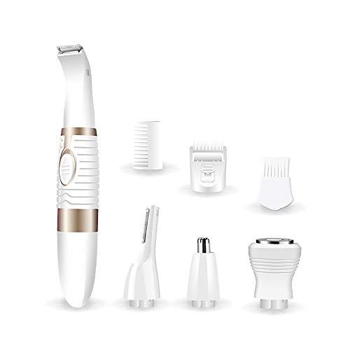 YHML Nasenhaarschneider und Ohrenhaartrimmer, Männer/Frauen Wet/Dry-Trimmer, mit Wirbelstrom-Reinigungssystem, 4-in-1-Rasierer, Augenbrauen-Reparatur, batteriebetriebenes, Weiss -