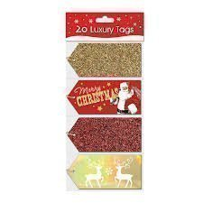 Pack Of 20 Luxury Christmas Xmas Tags Cards Luggage Style