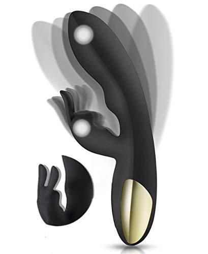 Masajeador para Mujeres y Pareja,Potente Masajeador Motor Doble Rabbit 360 ° Rotación 100{3b9504da2dc8c7e233dc98d5cb2a09ae8647b65a9894c18c75f9be5dbfdc611f} Impermeable 10 Modos de Vibración Fuerte Silicona