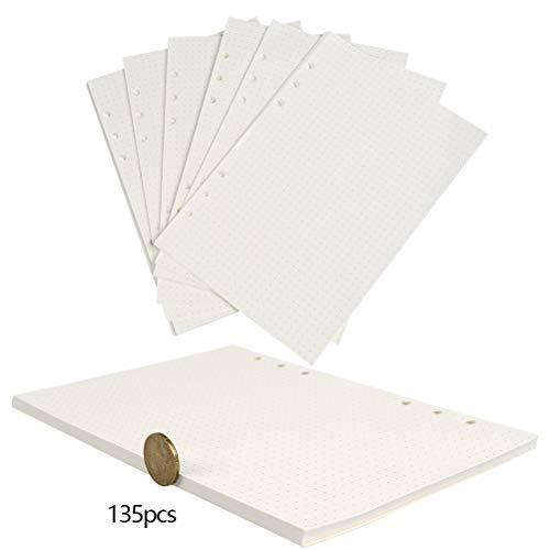 FOCCTS 135 Blätter Gepunktetes Papier Dot Grid Paper A5 6 Löcher Nachfüllpapier für Filofax A5, Notizen, DIY, Bullet Journal, Skizze, Malerei, 21 x 14.2 cm