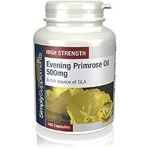 Aceite de Onagra 500 mg   Para la salud del corazón, de la piel y del cabello y equilibra las hormonas   180 cápsulas  