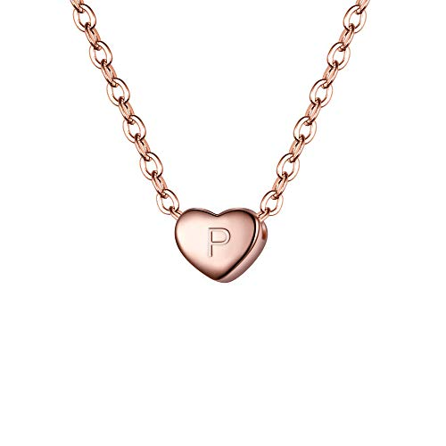 Clearine Damen Choker Halskette 925 Sterling Silber mit Buchstabe A-Z kleine Initial Herz Anhänger Kette Halsband Buchstabe P 14K Rose-Gold-Ton
