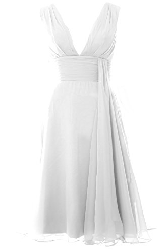 MACloth Women Deep V Neck Cockltail Dress Simple Short Wedding Party Formal Gown Weiß