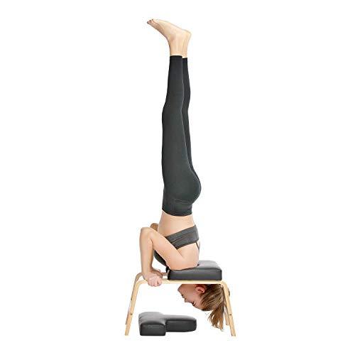 Yoga Headstand Chair , Yoga-Multifunktions-Sportstuhl mit Sportunterstützung für einen perfekten Körper - Holz und PU-Pads - Schwarz