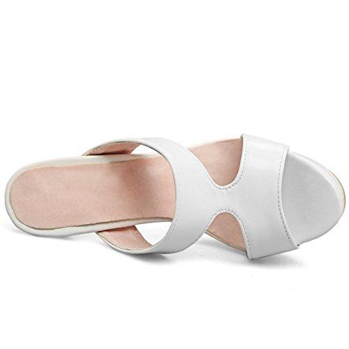 TAOFFEN Damen Basic Schlupfschuhe Openback Blockabsatz Sommer Slipper Sandalen Weiß