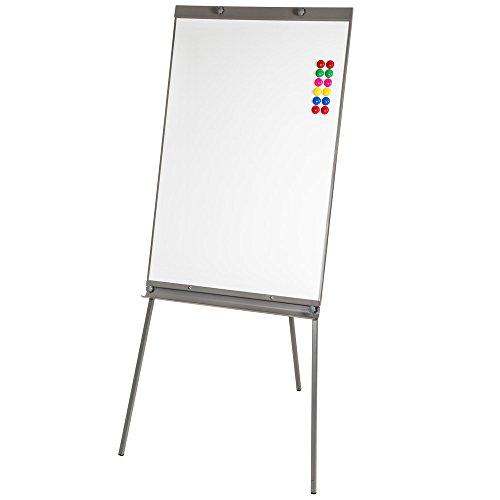 TecTake Flipchart für Büro magnetisches Whiteboard weiß verstellbar in der Höhe 65x 95cm + 12