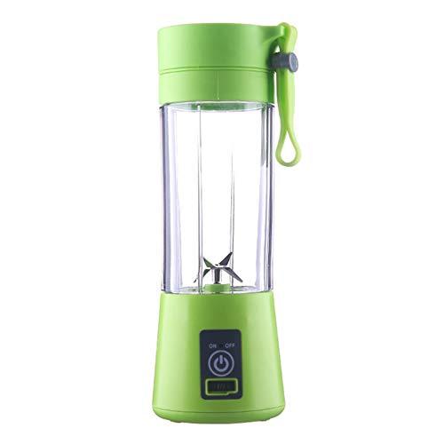 HermosaUKnight 2/4 Cuchillas Mini USB Recargable Portátil Exprimidor eléctrico de Frutas Batidor de Frutas Máquina batidora Botella Deportiva Juicing Cup-Green (4 Cuchillas)