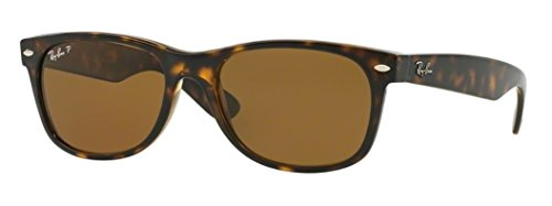 Ray Ban Unisex Sonnenbrille Wayfarer Polarzied, Gr. 55 mm, Braun (Tortiose),RB 2132 55 902/57