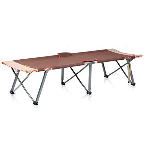 Hh001 Klappbett Aluminium Folding Camp Bed Außenstrand Tragbare Camping Bett/Büro Mittagessen Bett/inländischen Einzelbett (Color : Brown, Size : 190 * 65 * 25CM)
