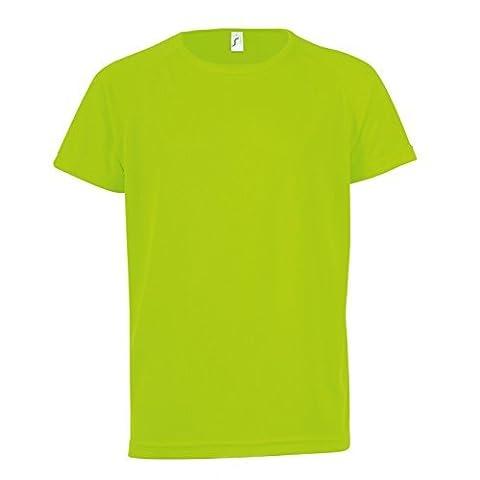 SOLS - T-shirt de sport uni - Enfant unisexe (10 ans) (Vert néon)