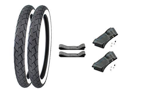 SET: 2 Weisswand Reifen inkl. 2x Schlauch + 2x Felgenband 2,25-17 (2 1/4x17-21 x 2,25) für Mockik Mofa (2) - 17zoll Reifen