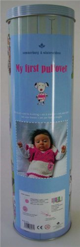 Strickpackung für Babypullover in Pink-Weiß inkl. Geschenkdose
