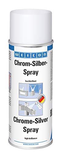 WEICON 11103400 Chrom-Silber-Spray 400ml - Beschichtung von Metall und weiteren Materialien, aluminium, glänzend