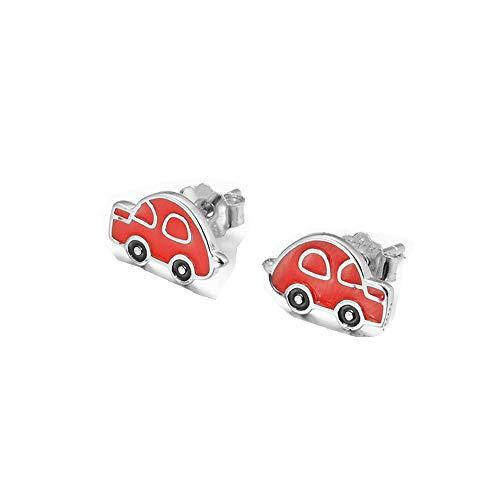 ZHWM Ohrringe Ohrstecker Ohrhänger Schöne 925 Sterling Splitter Rot Emaille Spielzeugauto Silber Ohrringe Für Frauen Kinder Junge Freund Modeschmuck Geschenk