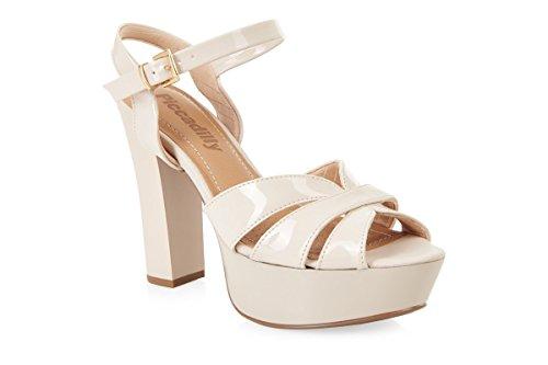 Piccadilly 814004rembourré confortable haut talon Plateforme sandales - Beige Patent