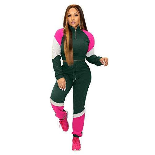 Sllowwa Damen Jogging Anzug Trainingsanzug Sweatshirt Sportanzug Langarm Mantel und Hosen Nähte Farbe Casual Sports Set S-3XL