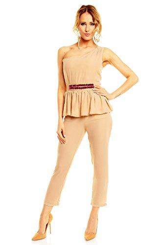 Mayaadi Damen Overall Chiffon Ärmellos One-Shoulder Jumpsuit Elegant Einteiler HS-272 Beige L