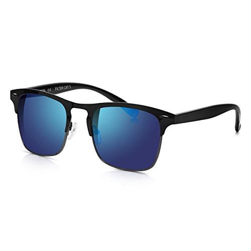 Sunglass Junkie Matt Schwarze Herren Sport Clubmaster Sonnenbrille mit Blauen Spiegelglaesern