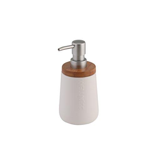 axentia Seifenspender Bonja Wellness, leicht nachfüllbarer Flüssigseifen-Spender aus Keramik und nachhaltigem Bambus mit verchromter Dosierpumpe, Seifenbehälter mit ca. 450 ml Fassungsvermögen