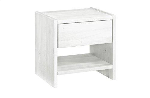 SAM® Nachtkommode Jessica aus massivem, weißen Bucheholz, mit ausreichend Verstaumöglichkeiten in rustikalem Design