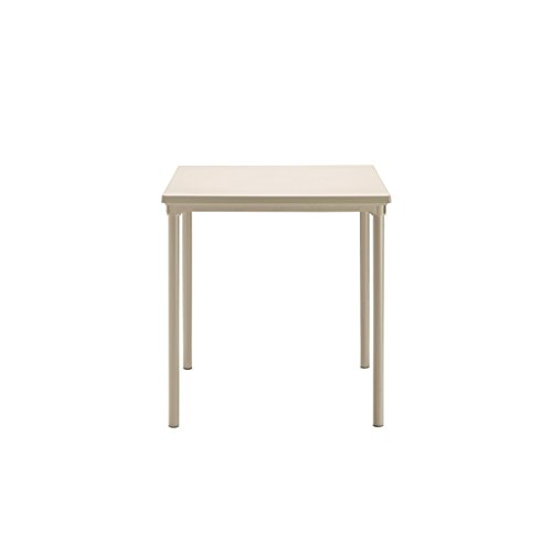 Ideapiu Table empilable avec Plan Lisse en tecnopolimero et Jambes en Aluminium Verni. 80 x 80 x H.75 Couleur Taupe