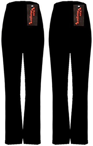 KATE MORGAN Ladies Stretch 2 Pack Finely Ribbed Bootleg Trousers, Sizes 10-26, 3 Lengths, Black Or Navy Or Brown