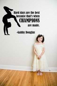 Geordiet Champions Hard Days Are the Best Gymnastic Quote Lettering Saying Wall Design Decor Sticker Decal Removable Vinyl Name Wall Art Decal