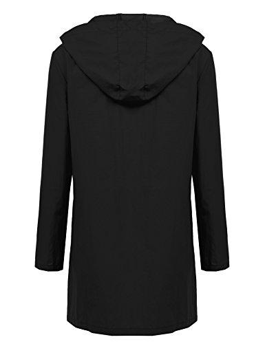 Zeagoo Damen Regenjacke Kapuzejacke Wasserdicht Übergangsjacke Windbreaker Funktionsjacke Leicht Regenmantel mit Taschen B Schwarz