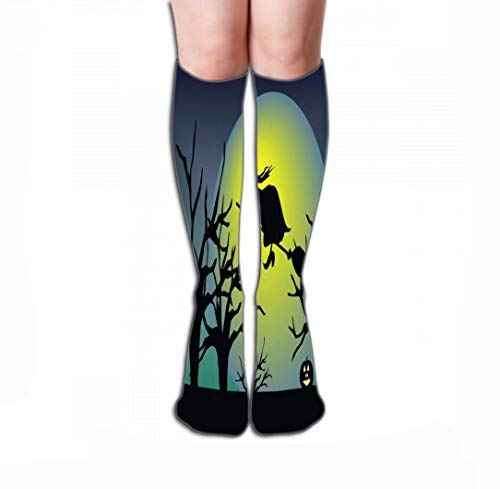 Xunulyn Hohe Socken Men Women Outdoor Sports High Socks Stocking Hallowen Pumpkin Elements Tile Length 19.7