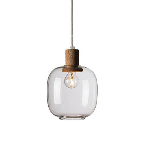 Lampe à suspension Picia en verre et liège - Enrico Zanolla LTPCS21SC, verre transparent