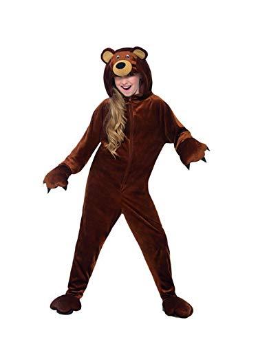 Luxuspiraten - Kinder Jungen Mädchen Kostüm Plüsch Braunbär Bär Teddybär Bear Fell Einteiler Onesie Overall Jumpsuit, perfekt für Karneval, Fasching und Fastnacht, 122-134, (Löwe Tiger Bär Halloween Kostüm)