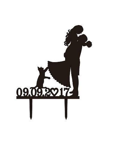 Personalisierte Datum und color-bride und Bräutigam Silhouette Hochzeit Tortenaufsatz mit Katze, Acryl Hochzeit Tortenaufsatz, Lustige Kuchendekoration, Liebespaar Topper
