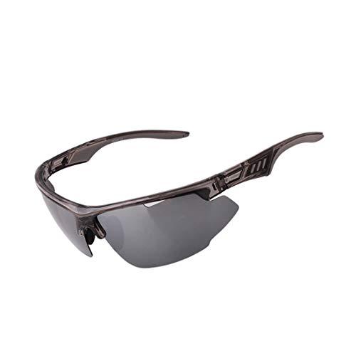 LBWNB Sportsonnenbrillen-CrazyFire UV 400 Schutz Unzerbrechliche Sportgläser Sonnenbrille Anti-UV-Sport-Outdoor-Sonnenmesslampen Reiten Photochromische Radnachrichtenlampen,Black