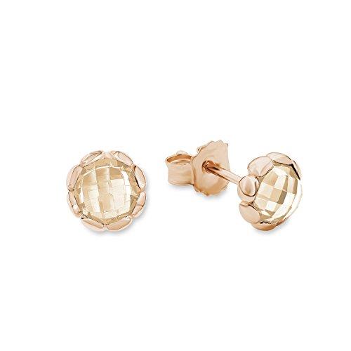 s.Oliver Damen-Ohrstecker 7,5 mm champagnerfarben 925 Sterling Silber rosévergoldet Zirkonia creme