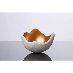 Lichtschale gold - S (15cm) - Beton weiss | Unikat handmade | Geburtstagsgeschenk | Einzigartiges Geschenk | Gartendeko| Muttertagsgeschenk | Geschenkidee | Geschenk für die Frau | Hochzeitsgeschenk