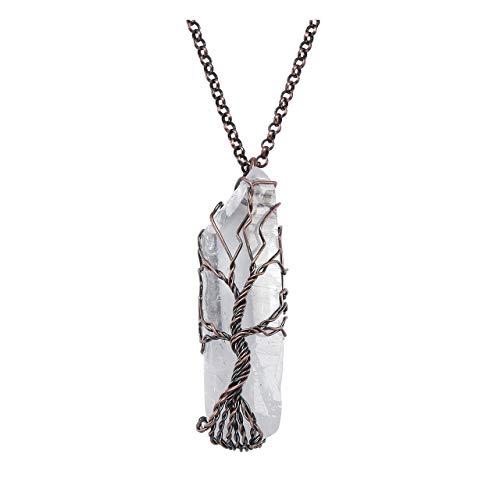 JOVIVI Edelstein Schmuck Lebensbaum Wire Wrap Bergkristall Anhänger Kette Heilsteine Energietherapie Reiki Pendant Halskette