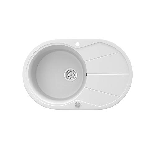 Spüle Granit Verbundspüle Küchenspüle Einbauspüle Auflage 780 x 500 mm große Ablage Spülbecken + Drehexcenter + Siphon