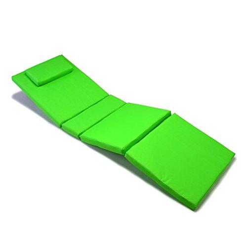 Nexos Divero Liegenauflage - Auflage Polster für Sonnenliege Gartenliege Holzliege Saunaliege mit Kopfkissen - bequem hochwertig robust - hellgrün