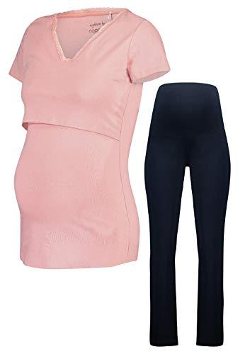 Noppies Schlafanzug GOTS-Zertifikat Nursing Set Umstandsschlafanzug Sleep Shirt + Hose Pyjama Nachtwäsche (M (38-40), Hose (Marine) & Shirt (Silver Pink))