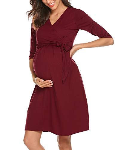 Romanstii Damen Umstandsmoden-Shirtkleid Umstandskleid Kleid