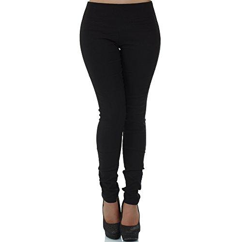 malucas Damen Hose Stoffhose Stretch Röhre Skinny Leggings Jeggings Treggings Leggins Slim Fit, Größe:40, Farbe:Schwarz (Röhre Lange Schwarze)