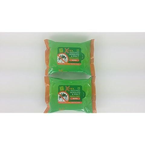 Xpel Mosquito & Repelente De Insectos Toallitas X 2 Packs - 25 Por Paq. = 50 Toallitas