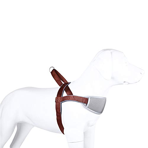 XDYFF Hundegeschirr Verstellbarer Hundebrustgeschirr Atmungsaktive Für mittelgroße bis große Hunde mit goldenen Retriever-Brustgurten mit Verschlussschnalle für große Hunde,Brown,L