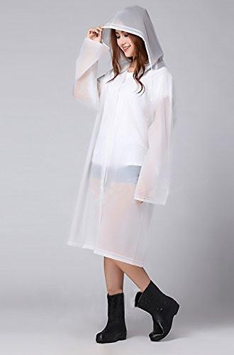 Donne Rainwear Moda Giovane Impermeabile Pioggia con cappuccio Manica Lunga traslucido Fashion Poncho All'aperto Escursionismo Raincoat Pioggia Poncho Trench Bianco