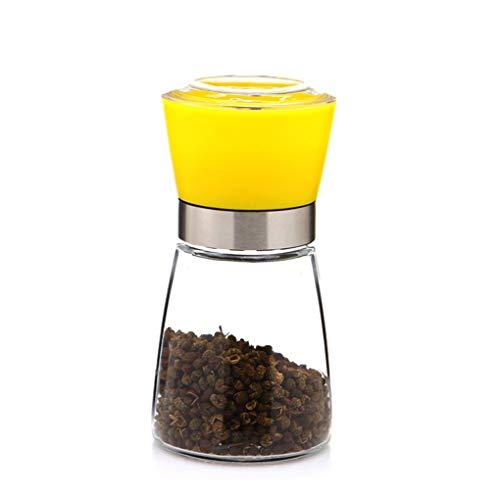 Pepper-Mühle Grinder, Adjustable Coarseness und gebürstete Glas Shaker Spice Container Condiment Jar Holder Grinding Bottle Kitchen Tools,Yellow (Spice Jar-schleifer)