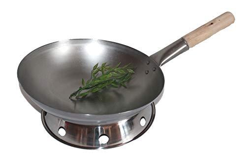 AAF Nommel ®, Wok Set, Pfanne 38 cm Ø runder Boden Carbon Stahl für Gasherd und Induktion Mulde + Wok Ring zum abstellen des Wok